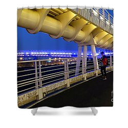 Shower Curtain featuring the photograph Modern Bicycle Overpass By Night by Yali Shi