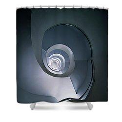 Modern Blue Spiral Staircase Shower Curtain by Jaroslaw Blaminsky