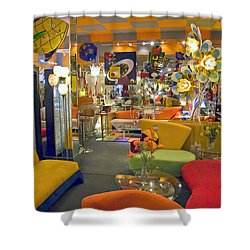 Shower Curtain featuring the photograph Modern Deco Furniture Store Interior by David Zanzinger