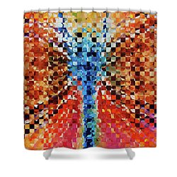 Shower Curtain featuring the painting Modern Dragonfly Art - Pieces 6 - Sharon Cummings by Sharon Cummings