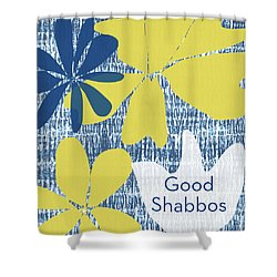Modern Floral Good Shabbos- Art By Linda Woods Shower Curtain by Linda Woods