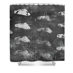 Shower Curtain featuring the painting Modern Fossil Grayscale by Robin Maria Pedrero