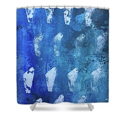 Shower Curtain featuring the painting Modern Fossil by Robin Maria Pedrero
