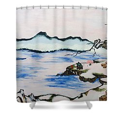 Modern Japanese Art In The Shadow Of The Past - Utsumi And Kano School Shower Curtain by Sawako Utsumi