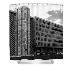 Modern Lisbon - The Palace Of Justice Shower Curtain by Lorraine Devon Wilke