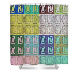 Shower Curtain featuring the mixed media Modern Miracles 2 by Ann Calvo