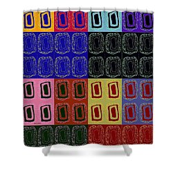 Shower Curtain featuring the mixed media Modern Miracles by Ann Calvo