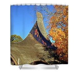 Modern New England Church In Fall Shower Curtain