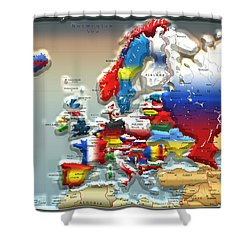 Modern Portrait Of Modern Europe - 3d Shower Curtain