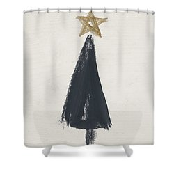 Modern Primitive Black And Gold Tree 3- Art By Linda Woods Shower Curtain