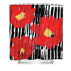 Shower Curtain featuring the mixed media Modern Red Flowers- Art By Linda Woods by Linda Woods