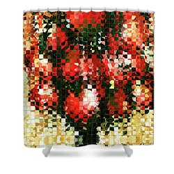 Shower Curtain featuring the painting Modern Red Poppies - Pieces 4 - Sharon Cummings by Sharon Cummings