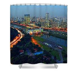 Modern Sao Paulo Skyline - Cidade Jardim And Marginal Pinheiros Shower Curtain