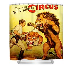 Shower Curtain featuring the digital art Modern Vintage Circus Poster by ReInVintaged