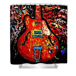 Modern Vintage Guitar Shower Curtain