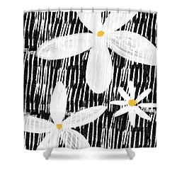 Shower Curtain featuring the mixed media Modern White Flowers- Art By Linda Woods by Linda Woods