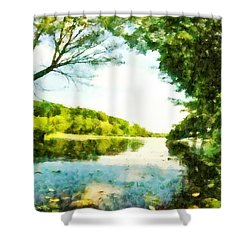 Shower Curtain featuring the photograph Mohegan Lake By The Bridge by Derek Gedney