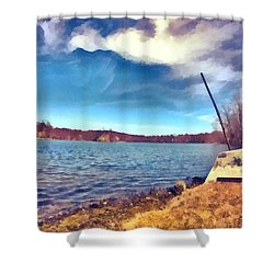 Shower Curtain featuring the painting Mohegan Lake Lonely Boat by Derek Gedney