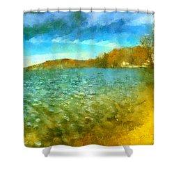Shower Curtain featuring the painting Mohegan Lake Panoramic Beach by Derek Gedney
