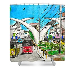 Moi Ave, Mombasa Tusks  Shower Curtain