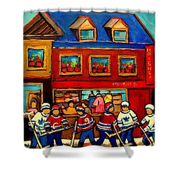 Moishes Steakhouse Hockey Practice Shower Curtain by Carole Spandau