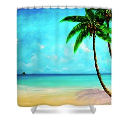 Mokolii Chinamans Hat From Waiahole Beach Park #280 Shower Curtain by Donald k Hall