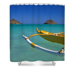 Mokulua Islands, Outrigger Shower Curtain by Dana Edmunds - Printscapes