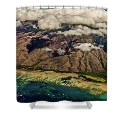 Shower Curtain featuring the photograph Molokai From The Sky by Joann Copeland-Paul