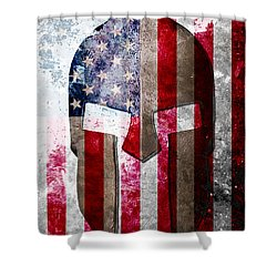 Molon Labe - Spartan Helmet Across An American Flag On Distressed Metal Sheet Shower Curtain