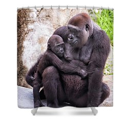 Mom And Baby Gorilla Sitting Shower Curtain by Stephanie Hayes