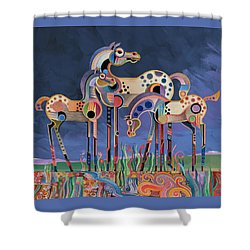 Mom And Foals Shower Curtain by Bob Coonts