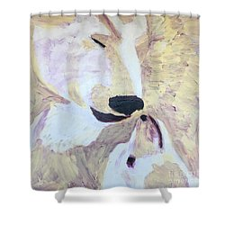 Shower Curtain featuring the painting Momma Bear Checking On Her Cub by Donald J Ryker III