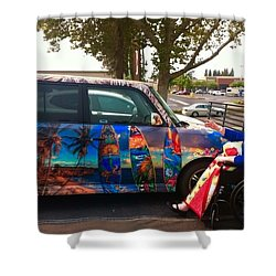 Mom Loves Surf Car Shower Curtain
