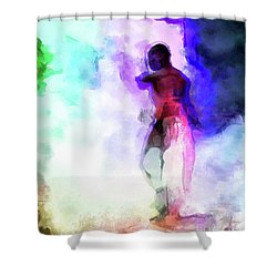 Moment In Blue - African Dancer Shower Curtain