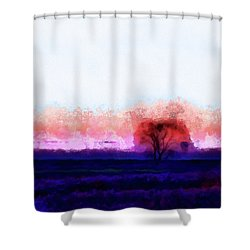 Moment In Blue Horizon Tree Shower Curtain by Cedric Hampton