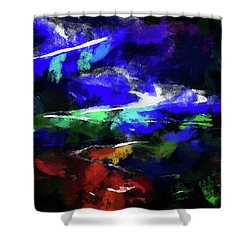 Moment In Blue Lazy River Shower Curtain by Cedric Hampton