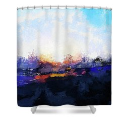 Moment In Blue Spaces Shower Curtain by Cedric Hampton