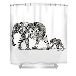 Momma And Baby Elephant Shower Curtain by Kathy Sheeran