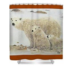 Mommy Bear Shower Curtain by Annie Poitras