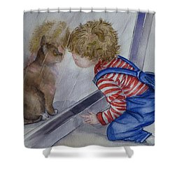 Mommy Kitty Wants To Come In... Shower Curtain by Kelly Mills