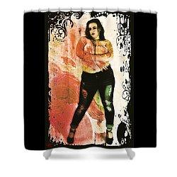 Shower Curtain featuring the digital art Mona 2 by Mark Baranowski