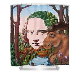 Mona Lisa . Earth Shower Curtain