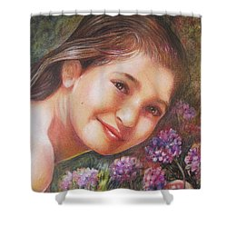 Shower Curtain featuring the painting Mona Lisa's Smile by Patricia Schneider Mitchell