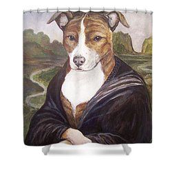 Shower Curtain featuring the painting Mona Pitta by Laura Aceto