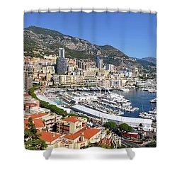 Shower Curtain featuring the photograph Monaco Port Hercule Panorama by Yhun Suarez