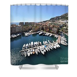 Shower Curtain featuring the photograph Monaco Port De Fontvieille  by Yhun Suarez