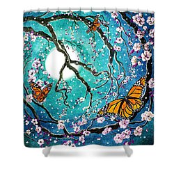 Monarch Butterflies In Teal Moonlight Shower Curtain by Laura Iverson