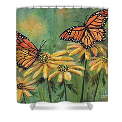 Monarch Butterflies Shower Curtain by Lou Ann Bagnall