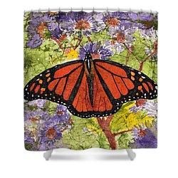 Monarch Butterfly On Purple Flowers Watercolor Batik Shower Curtain