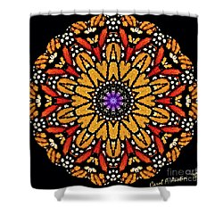 Monarch Butterfly Wings Kaleidoscope Shower Curtain